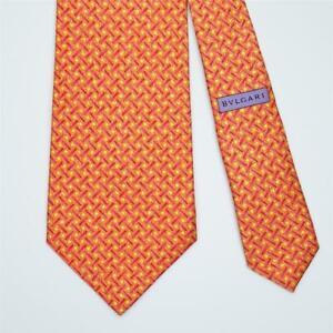 BVLGARI TIE Bulgari Geometric on Orange 7-folded Wide Silk Necktie
