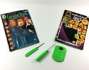 2 Halloween Pumpkin Jack O lantern Pattern Books and 3 Piece Carving Set