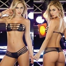 Valentine's Day Ladies Women Sexy Lingerie Patent leather Bikini bra+G-string