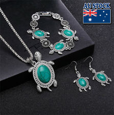 Retro Cut Blue Turquoise Sea Turtle Pendant Necklace Earrings Bracelet Set