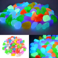 100pcs Glow in the Dark Pebbles Stone Garden Walkway Aquarium Fish Tank Decor
