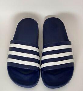 Adidas UNISEX Adilette Aqua Slide Sandal - Dark Blue/White - Size 7 (Mens)
