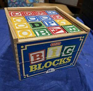 48 - Schylling Big ABC Wooden Alphabet Blocks Wood Case