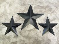 "(Set of 3) Satin BLACK BARN STARS 8""/5.5"" PRIMITIVE RUSTIC COUNTRY DECOR ANTIQUE"