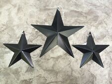"(Set of 3) Satin BLACK BARN STARS 8""/5.5"" PRIMITIVE RUSTIC COUNTRY DECOR ANTIQUE"
