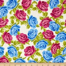 Fat Quarter Olivia Roses Blue Pink Flowers Floral Cotton Sewing Quilting Fabric