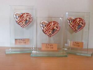 3er-Serie Leichtathletik-Pokale (Glas) mit Wunschgravur (H)