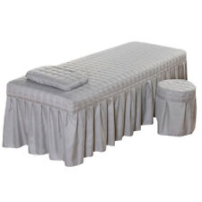 "Massage Table Skirt Sheet Pillowcase Stool Cover Beauty Linen 75x28"" Grey"