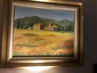 Vintage Old Early California Orange Poppy Blossom Farmhouse Framed Oil Painting