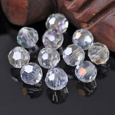 10pcs 12mm 32 Facets Clear AB Round Faceted Cut Crystal Glass Loose Spacer Beads