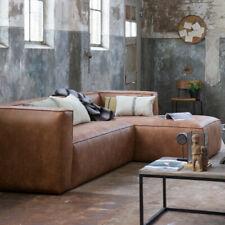 Eckgarnitur BEAN Leder cognac Couch Sofa Ecksofa Ledercouch Longchair rechts