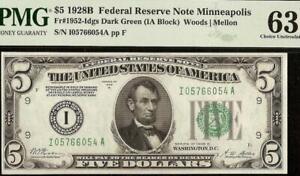 1928 B $5 DOLLAR BILL FEDERAL RESERVE GOLD ON DEMAND NOTE Fr 1952-Idgs PMG 63