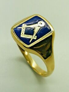9ct Yellow Solid Gold Masonic Signet Ring