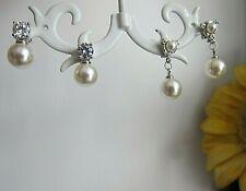 Pearl & Diamante Silver Filled Stud Earrings - NEW.