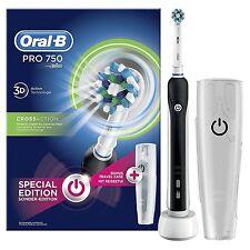 BRAUN Oral-B Pro 750 Elektrische Zahnbürste mit CrossAction Aufsteckbürste BLACK