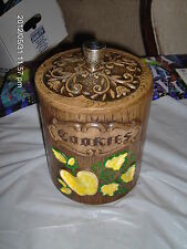 VINTAGE TRESURE CRAFT COOKIE JAR STUMP WITH YELLOW  APPLE & LEAVES HAND DONE USA