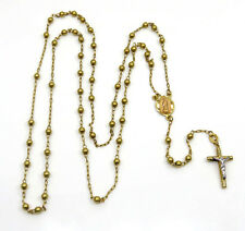 "28"" 3 mm 7.50 Grams 14k Yellow Gold smooth bead Rosary Bead Chain Necklace Mens"