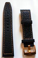 Neu hochwertiges Elysee Uhrenband Uhrenarmband Leder Black Orange Naht 22mm E33