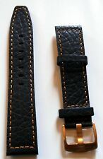 New High Quality Elysee Watch Band Wrist Leather Black Orange Seam 22mm E33