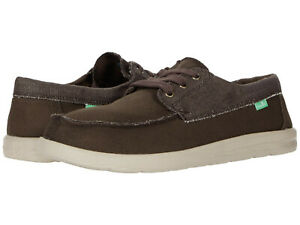 Men Sanuk Skuner Lite Lace up Canvas 1112751 Brown 100% Authentic Brand New