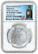 2016 Britannia Britain Silver Proof 1oz NGC PF70 ER Early Release Big Ben Box