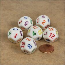 NEW Set of 6 White D12 with Multi-Colored Numbers RPG D&D Game Twelve Sided Dice