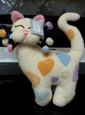 "Whimsiclay Cat Art Amy Lacombe SWEETIE #23006 13"" White Pastel Colors Hearts vgc"