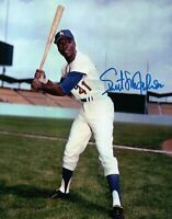 Sweet Lou Johnson Signed 8X10 Photo Autograph Dodgers Pose w/Bat High Auto w/COA