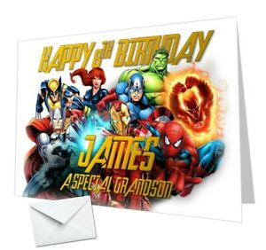 Personalised Avengers Birthday Card Hulk Thor Ironman Any NAME, AGE or RELATION