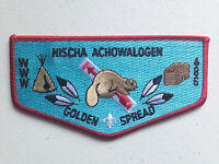 NISCHA ACHOWALOGEN OA LODGE 486 SCOUT SERVICE FLAP PATCH GOLDEN SPREAD RED !