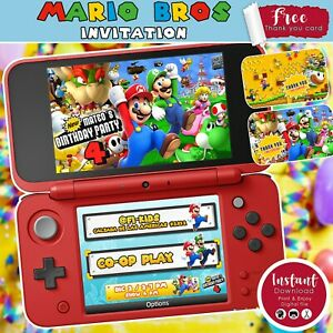 Super Mario Bros Digital Birthday Invitation - Party Supply (YOU PRINT)