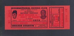 VINTAGE 1953 ROCKY MARCIANO vs JERSEY JOE WALCOTT FULL BOXING TICKET - 1ST RD KO