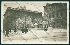 Bologna città Piazza Minghetti nevicata Foto cartolina QQ8911