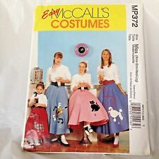 McCalls EASY Costumes Poodle Skirt sizes 4 - 18 Sewing Pattern UNCUT MP372 /MIS
