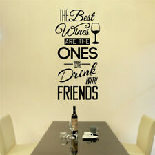 Best Wine Drink With Friend Quote Wall Sticker | Typography Decal Bar Pub Decor