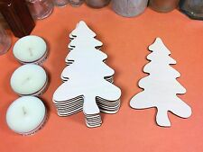 WOODEN FOLK TREES Shapes 12.1cm (x10) wood tree cutout craft shape blanks