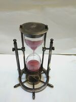Nautical Vintage Marine Solid Brass Wheel Sand Timer Collectible Decorative Gift