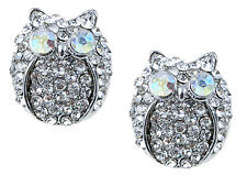 Clear Genuine Rhines Silver Metal Fat Chubby Owl Bird Button Earrings Dangle New