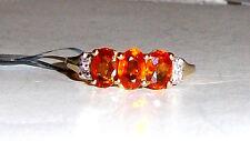 10K Yellow Gold Orange Spessartite Garnet & Zircon 3-Stone Ring, Sz 10, 2.11(TCW