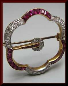 Antique Princess Red Ruby & Diamond 18K Yellow Gold Over Brooch Pin 2.95Ct