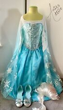 Disney Store Girls Frozen Elsa Dress, Shoes & Wig Costume - Age 9-10 Years