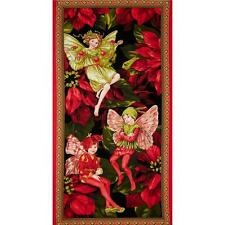 Michael Miller Christmas Flower Fairies Panel Red Cotton Quilting Fabric