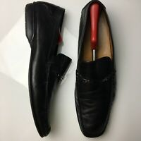 Bruno Magli Black Leather Slip On Loafers Mens Size 15 Made in Italy