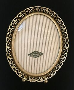"""Vintage 24K Gold Plated Oval Frame Convex Glass Reticulated Edge 4 3/4 X 3 6/8"""""""