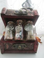 SPELL KIT WITCH BOTTLES LOVE LUCK & MONEY IN  WOOD CHEST HERBS LUCKY TALISMAN