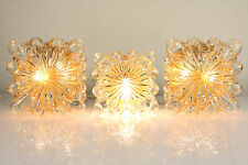Set of 3 Limburg Amber Glass Bubble Flush Mounts or Wall Lamps Helena Tynell