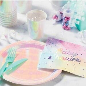 Rainbow Baby Shower Paper Napkins | Pastel Iridescent Girl Boy Gender Reveal