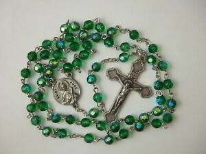 "Catholic Rosary St. Jude Medal 6mm Green Glass Beads nice Crucifix 21"" length"