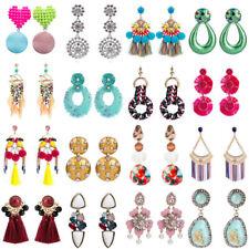 Fashion Women Boho Crystal Tassel Statement Gold Plated Geometric Big Earrings