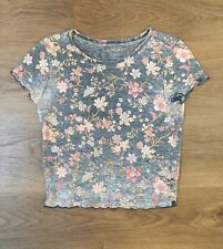American Eagle Junior Distressed Floral Blue Shirt Top XS EUC